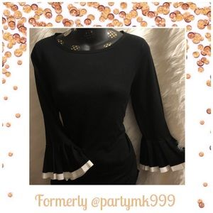 Tops - Bell Sleeve Knit Top black w white trim NOW$29
